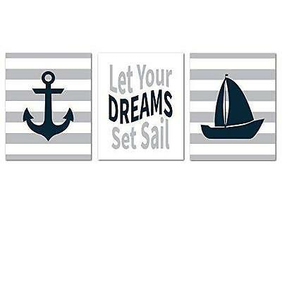 Nursery Prints Nautical Baby Wall Decor Sailboat Kids Room Pictures Boy Girl New