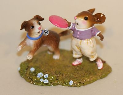 Wee Forest Folk Fetch! M-506a Girl Mouse Throwing Frisbee Disc to Puppy Dog