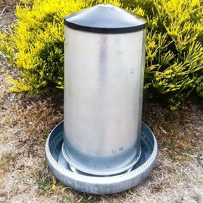 CLASSIC HUGE 40kg METAL HANG/STAND FEEDER with LID (POULTRY Chook CHICKEN)