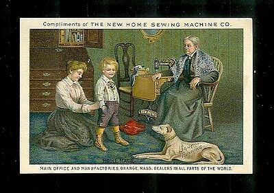 Family & Their Greyhound In Mama's Sewing Room-Victorian Trade Card