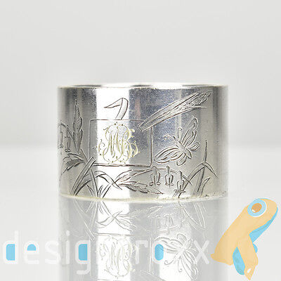 Antique French Christofle Silver Plate Napkin Ring Japanese Style Art Nouveau