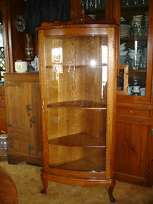 Antique Oak Curved Glass Corner China Curio Cabinet