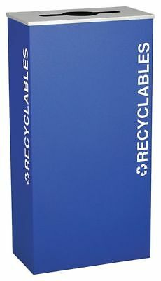 17 gal. Recycling Container Rectangular, Blue Steel TOUGH GUY 22N298