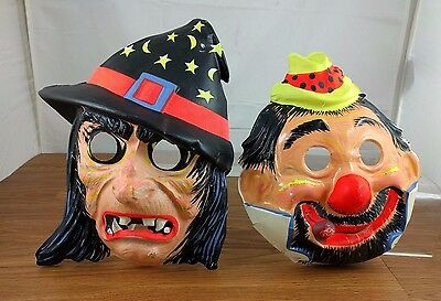 VTG Halloween Witch Hag & Bum Hobo Clown Cigar Mask Plastic Vacuform Costume