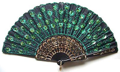 Beautiful Lady's embroider Silk Folding Hand Fan Handcraft FANS Green