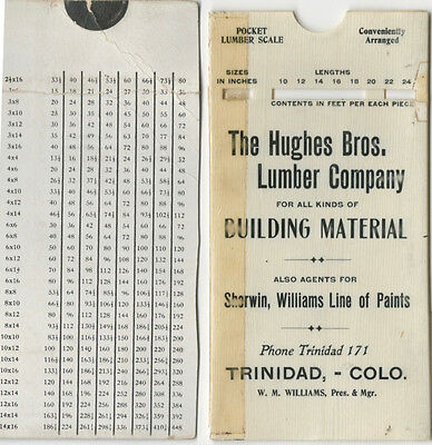 Early 20th Century CELLULOID LUMBER SCALE - HUGHES BROS. LUMBER - TRINIDAD COLO.