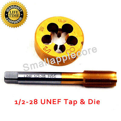 """1/2""""-28 NEW Tap and Die Set TiN Coated Tap RH Thread LIFETIME WARRANTY"""