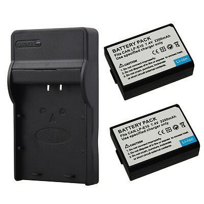 2X LP-E10 2200mAh Batteries + Charger For Canon 1100D 1300D Rebel T3 T5 KISS X70