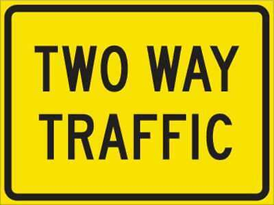 BRADY 115423 Traffic Sign, 18 x 24In, BK/YEL, 2WAY TRFC