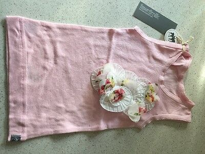 Fawn and Milk Baby Girls Singlet with Flower Embellishment - Size 0