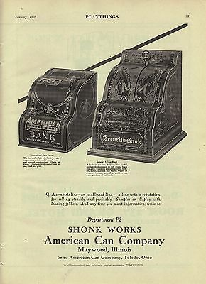 1928 American Three Coin Registering Adding Bank & Security Bank Toy Trade AD.