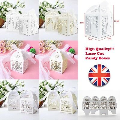 Luxury Laser Cut Candy Cake Gift Favors Boxes With Ribbon For Wedding Party