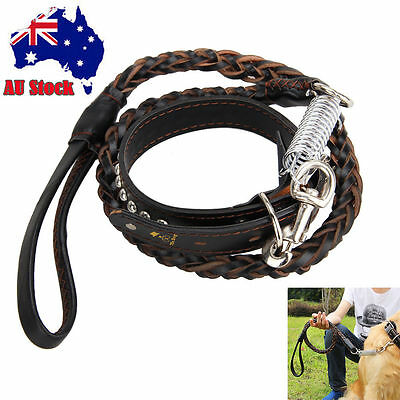 Pets Leather Knit Chain Leash Lead Large Dog Traction Rope W/Collar  For Jogging