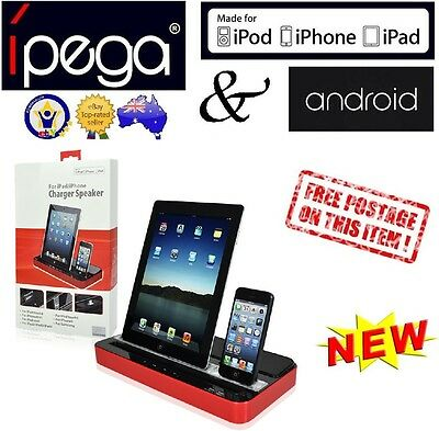 iPega Speaker Charger Stand Dock Station iPhone 4 5 6 iPad Air Mini Galaxy Red