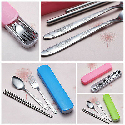 Stainless Steel Chopsticks Fork Spoon Camping Travel Cutlery Set with Colour Bag