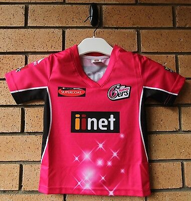 New Sydney Sixers Cricket Boy's T20 Bbl Jersey Majestic Athletic Size 4