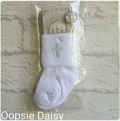 Baby Soft Touch White Cross Christening Socks Boys or Girls - Christening Socks