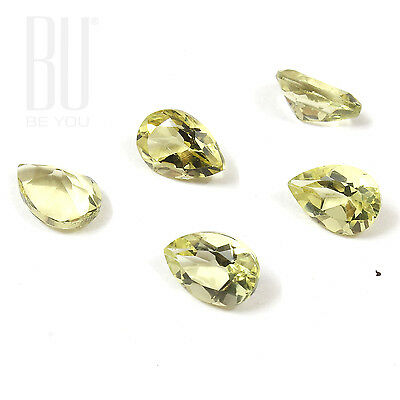 Natural Brazilian Lemon Quartz Green Gold 7x10 mm Pears 5 pcs gemstone