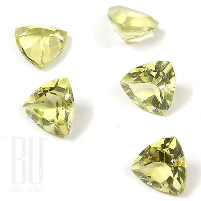 Natural Brazilian Lemon Quartz Green Gold 9x9 mm Faceted Trillion 5 pcs gemstone