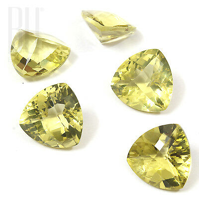 Natural Brazilian Lemon Quartz Green Gold 15x15 mm Trillion 1 pcs gemstone