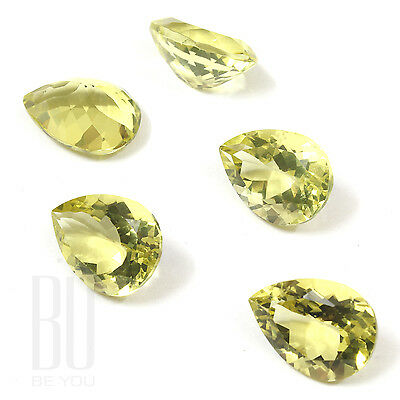 Natural Brazilian Lemon Quartz Green Gold 12x16 mm Pears 1 pcs gemstone