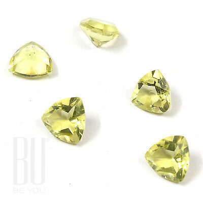 Natural Brazilian Lemon Quartz Green Gold 7x7 mm Faceted Trillion 5 pcs gemstone