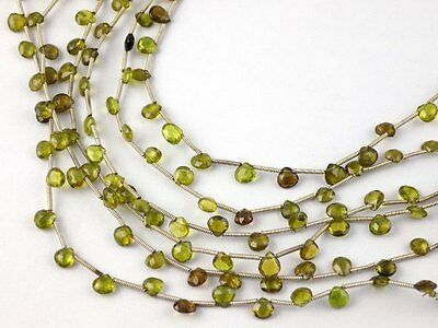 "1 Strand Natural Chrysoberyl Heart 5x5-5.5x5.5mm Briolette Beads 8"" Long Strand"