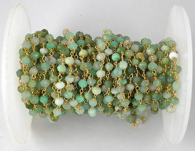 10 Feet Chrysoprase Gemstone Faceted Rosary Beaded Chain 24k Gold Plated 3.5-4mm