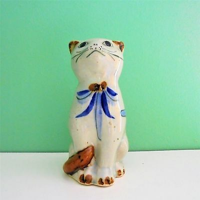 Vintage Hand Painted Mexican Ceramic Cat Figurine.