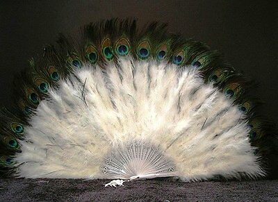 NEW Marabou Feather Fan w Peacock  WHITE 24 x 14 FREE SHIPPING