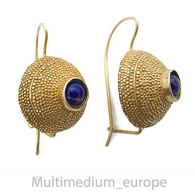 Silber vergoldet Ohrringe Lapis Lazuli byzantinischer Stil earrings silver gilt