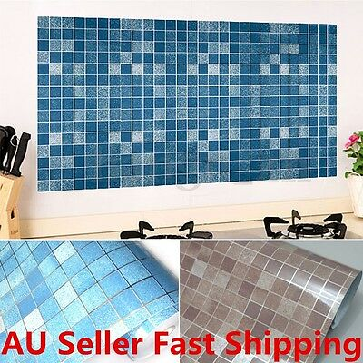 98' Mosaic Aluminum Foil Wallpaper Wall Sticker Bathroom Kitchen Tile Backsplash