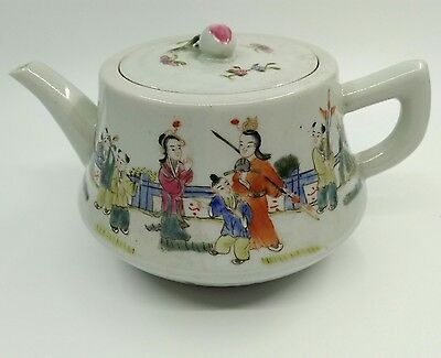 Antique vintage chinese teapot famille rose procelain Qing Emperor asian