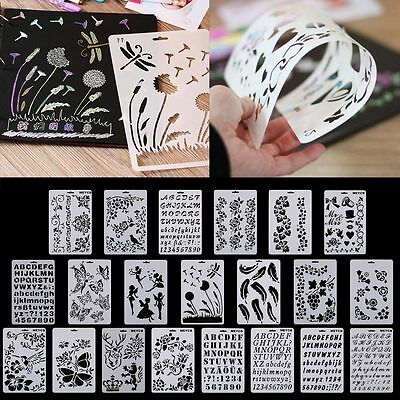 Hot Stencil Card Airbrush Painting Art DIY Home Decor Scrapbooking Album Craft