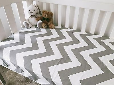 Grey And White Large Chevron Cot Fitted Sheet