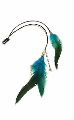 Clip in Feather Extension Blauw veren haar hair feathers plukje veer bedel koord