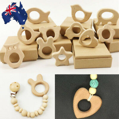 AU 11pcs Holder Nurs Eco-Friendly Wooden Teether Organic Baby Teethers Toys