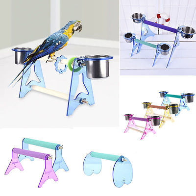 Parrot Bird Cage Perches Stand Food Trays Pet Budgie Hanging Training Chew Toy