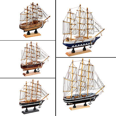 Handmade Vintage Nautical Wooden Wood Ship Sailboat Boat Crafts Model Decor