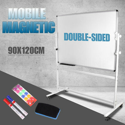 Magnetic Mobile WHITEBOARD 900mmx1200mm Quality Double Sided Home & Office New