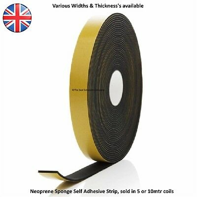Neoprene Rubber Self Adhesive Sponge Strip, 5 Metre Length Various Thickness