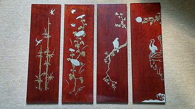4 Vintage Oriental Art Pictures Plaques Wood With Metal Overlay Beautiful