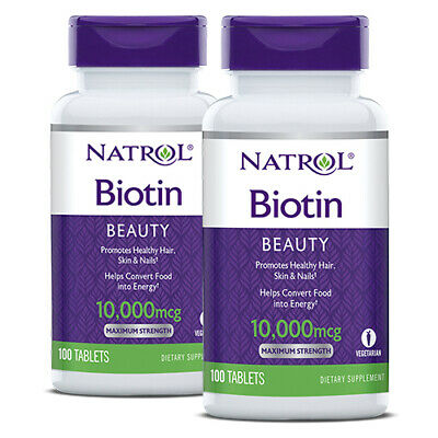 Natrol, Biotin, Maximum Strength, 10,000 mcg, Twin Pack - 200 Tablets