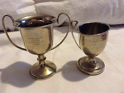 Two x Trophies trophy in Pewter winner compertition vintage small Sports Cup