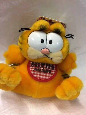 Garfield Vintage Soft Toy Wearing Stuffed Again Bib tagged Cartoon TV Film