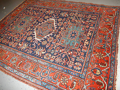 Wonderful Antique rug Persian Heriz Karajeh Serapi carpet 5'x6'1''