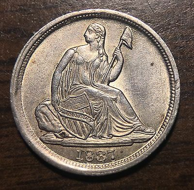 1837 Liberty Seated H10 Half Dime No Stars Large Date