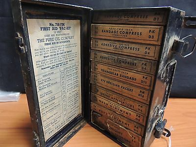 Antique Complete? First Aid Kit The Pure Oil Company Metal Box w/Supplies 3Lbs