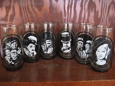 Vintage 1979 ARBY'S ACTOR SERIES drinking glasses COMPLETE SET OF 6 Chaplin