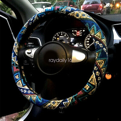 Automotive Ethnic Style Flax Cloth Wrap Anti Slip Car Steering Wheel Cover 15""